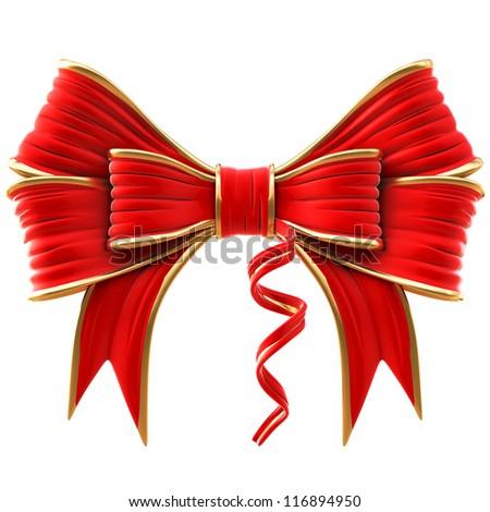 red velvet bow. isolated on white. - stock photo