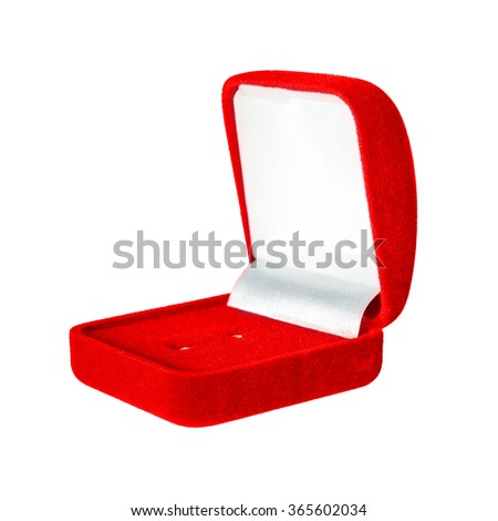 Red velvet box for the ring, isolated over the white background