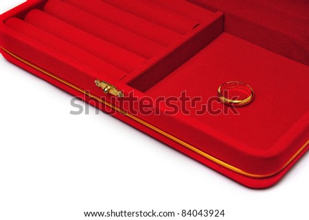 red velvet box with gold ring isolated on white background - stock photo