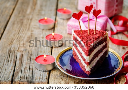 Red velvet cake for Valentines day. the toning. selective focus - stock photo