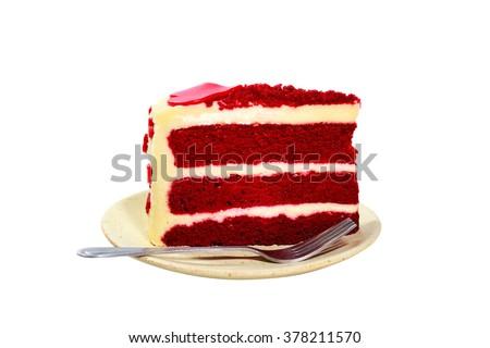 red velvet cake on white background - stock photo