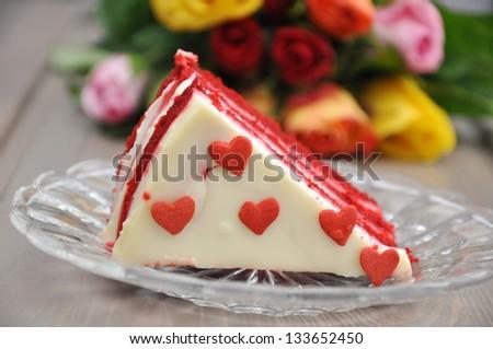 Red Velvet Cake with Roses - stock photo