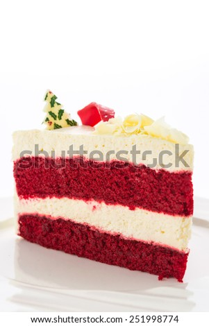 Red velvet cakes isolated on white background - stock photo