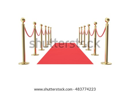 Red velvet carpet in studio with gold barrier. 3d illustration