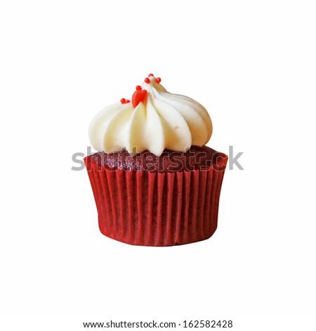 Red Velvet Cupcake isolated on white background - stock photo