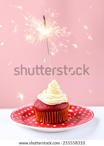 Red velvet cupcake with creme cheese  - stock photo