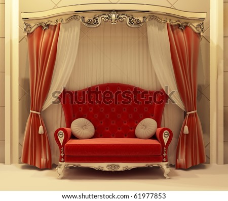 Red velvet curtain and royal sofa - stock photo