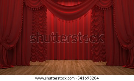 red velvet curtain opening the scene