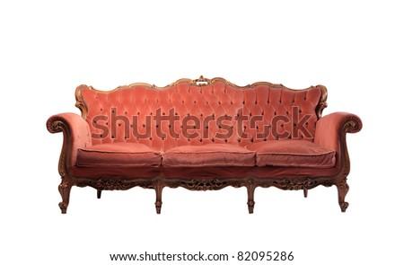 Red velvet sofa - stock photo