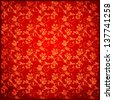 red vintage background floral pattern . rasterized/bitmap version - stock photo