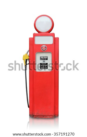 Red vintage gas pump isolated on white background - stock photo