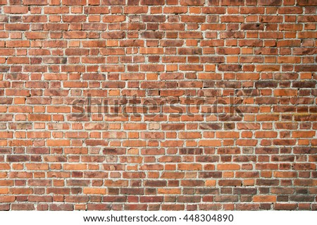 Red vintage old brick wall texture background - stock photo