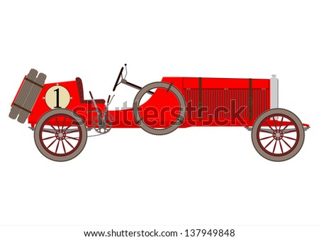 Red vintage racing car on a white background. - stock photo