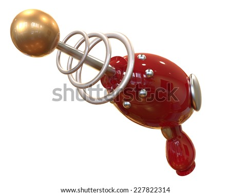 red Vintage Ray Gun on white background with clipping mask - stock photo