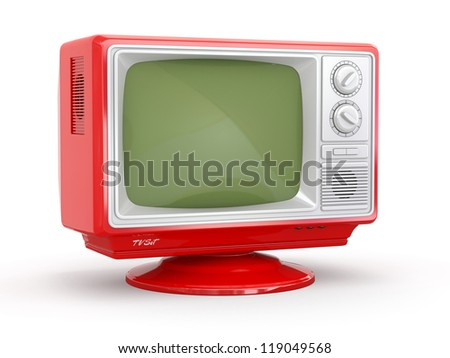 Red vintage retro tv on white background. 3d - stock photo