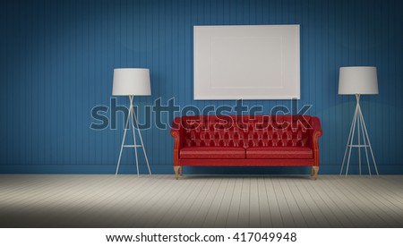 red vintage sofa in the blue color room 3d rendering - stock photo