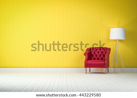 red vintage sofa on the yellow room 3d rendering - stock photo