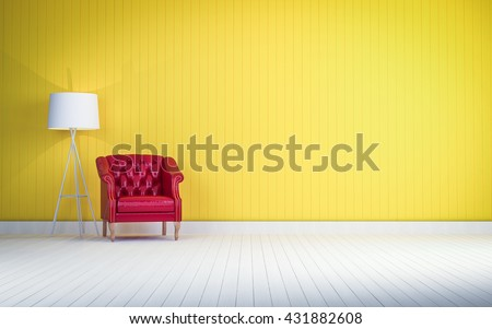 red vintage sofa on the yellow wall  room 3d rendering - stock photo