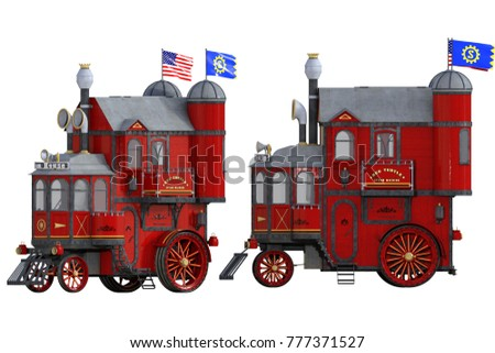 Red Vintage Steam Train House isolated on white. 3d render