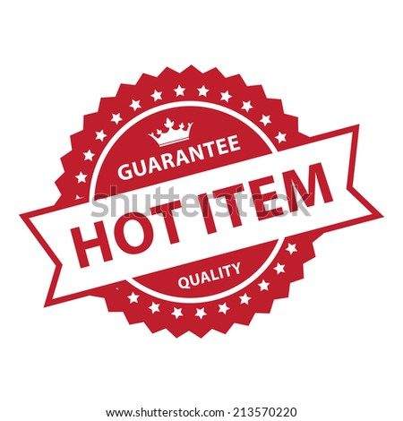 Red Vintage Style Guarantee Hot Item Quality Icon, Badge, Label or Sticker Isolated on White Background  - stock photo