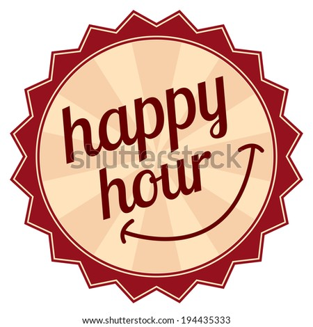 Red Vintage Style Happy Hour Icon, Sticker or Label Isolated on White Background