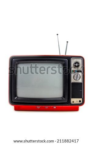 Red vintage style old television isolated on white