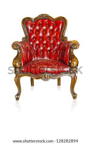 Red vintage style sofa isolated on white background.