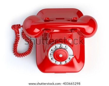 Red vintage telephone isolated on white. Top view of phone. 3d illustration - stock photo