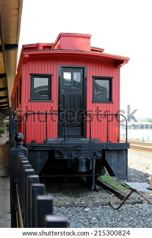 Red Vintage Train at Pittsburgh - stock photo