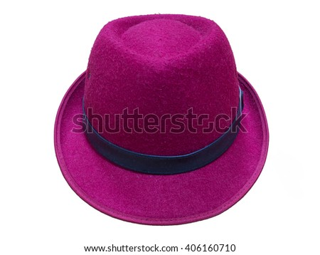 Red-violet fedora hat on white. with clipping path. - stock photo