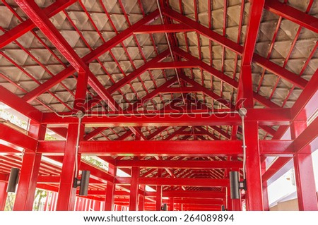 red vivid lever with tile ceiling in walkway - stock photo