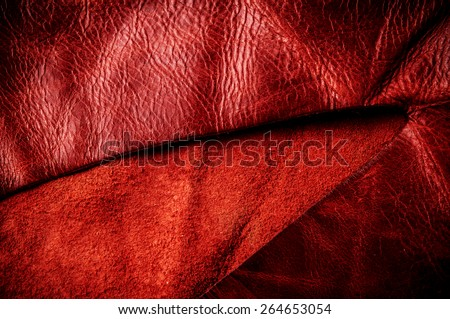 Red Vivid, Oxblood, Burgundy Leather for Concept and Idea Style of Fine Leather Crafting, Handcrafts, Handmade, Handcrafted / Background Pattern Textured and Wallpaper. - stock photo