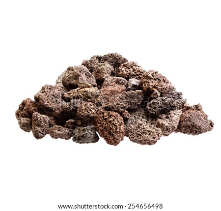 Red volcanic lava stones isolated on white. - stock photo