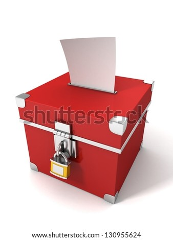 red vote box with bulletin paper - stock photo