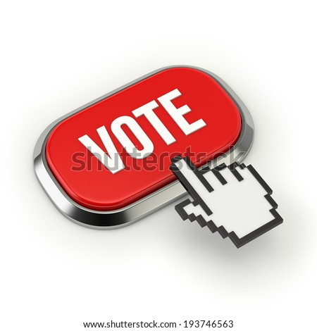 Red vote button with metallic border on white background