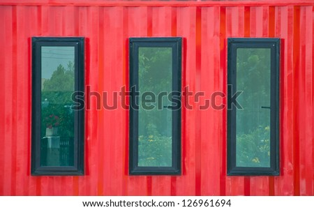 Red wall and window from container