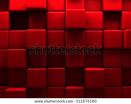 Red Wall Cube Blocks Background. 3d Render Illustration - stock photo