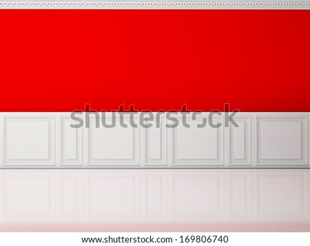 Red wall in a classic style  and reflection white floor - stock photo