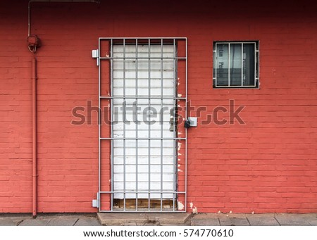 Red Wall with Door and Window secured by Iron Gratings & Security Door Stock Images Royalty-Free Images \u0026 Vectors ... Pezcame.Com