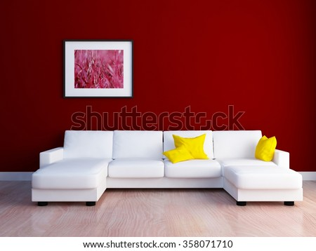 red wall with sofa. 3d concept - stock photo