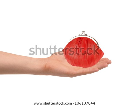 Red wallet in man hand isolated on white background - stock photo