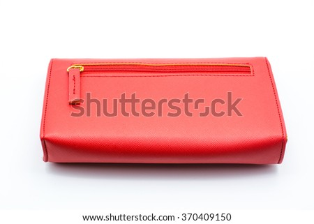 Red wallet leatherette on white background