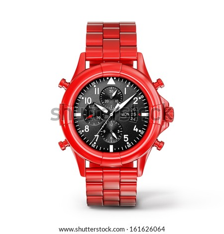 red watch isolated on a white background - stock photo