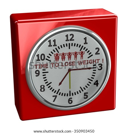 Red watch with words time to lose weight, isolated on white background.