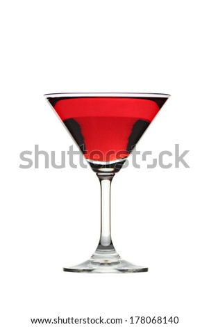 Red water in Glass isolated on white background.