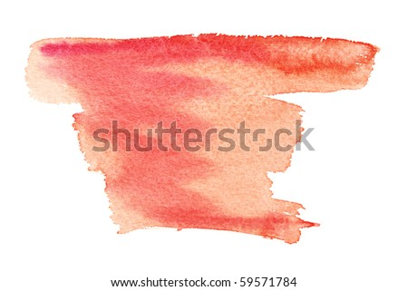 Red watercolor brush strokes - stock photo