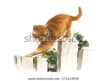 Red watercolor cat on the fence - stock photo