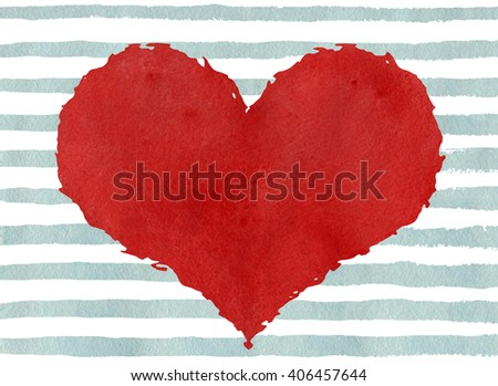 Red watercolor heart with rough edge on watercolor light blue grunge stripes background . Red grunge heart on abstract light blue brush strokes background.  - stock photo