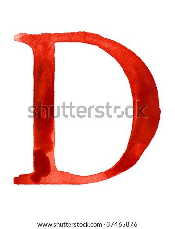 Red watercolor letter D