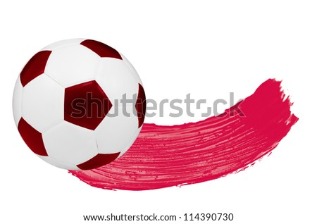 Red watercolour Blush and one soccer ball isolated on white background - stock photo